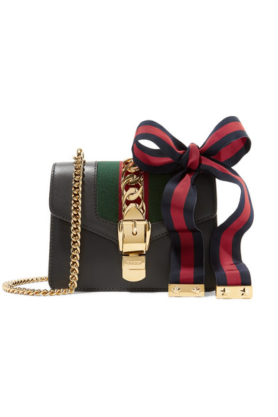 gucci female gucci sylvie mini chainembellished leather shoulder bag black