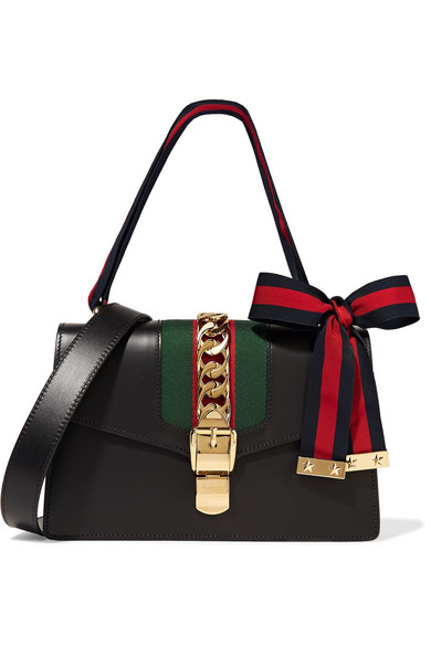 gucci female gucci sylvie medium chainembellished leather shoulder bag black