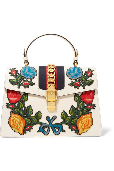 gucci female gucci sylvie medium chainembellished appliqued leather tote offwhite
