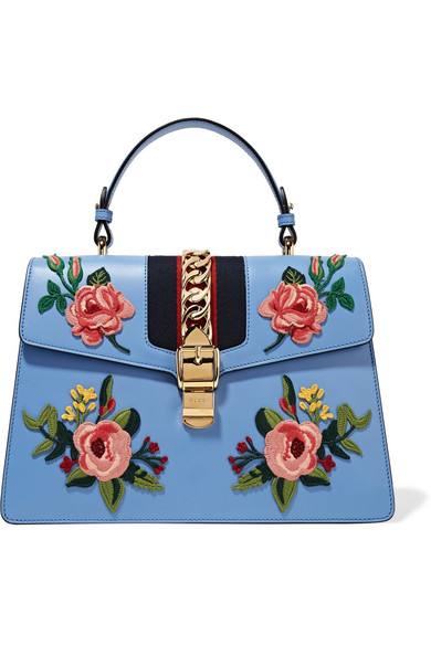 gucci female gucci sylvie medium chainembellished appliqued leather tote blue