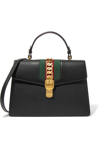 gucci female gucci sylvie medium chainembellished leather tote black