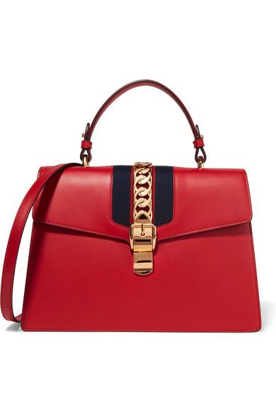 Gucci - Sylvie Medium Chain-embellished Leather Shoulder Bag - Red