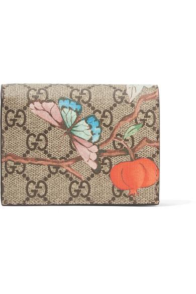 gucci female gucci printed coatedcanvas wallet beige