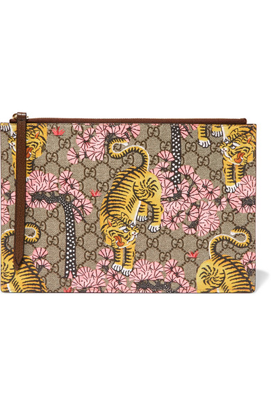 gucci female gucci printed coatedcanvas and texturedleather pouch beige