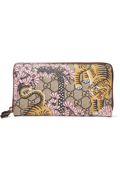 gucci female gucci leathertrimmed printed coatedcanvas continental wallet beige