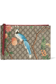 Gucci Printed coated-canvas and textured-leather pouch