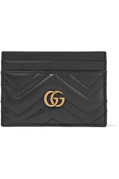 gucci female gucci gg marmont quilted leather cardholder black