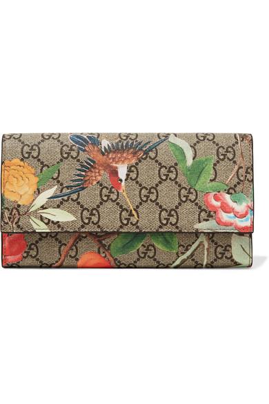 gucci female gucci printed coatedcanvas continental wallet beige
