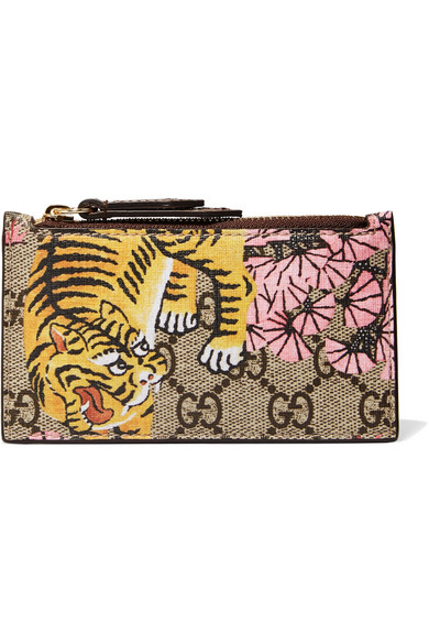 gucci female gucci printed coatedcanvas and texturedleather cardholder beige