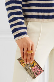 Gucci Printed coated-canvas and textured-leather cardholder
