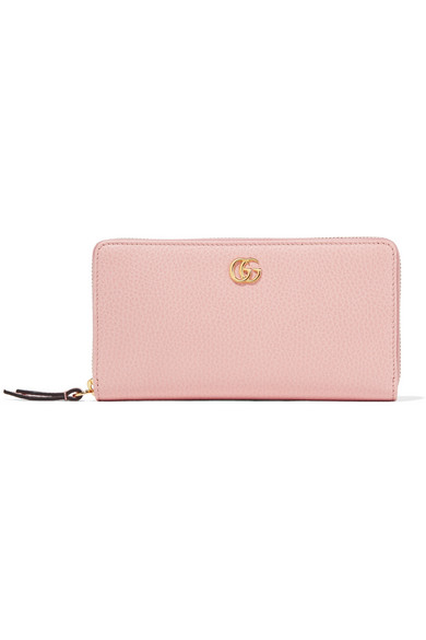 Gucci - Textured-leather Continental Wallet - Pastel pink