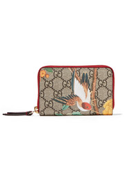 Leather-trimmed printed coated-canvas wallet