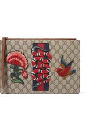 Gucci Merveilles appliquéd coated-canvas and leather pouch