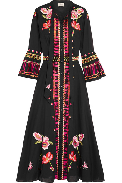 Temperley London - Amity Pussy-bow Embroidered Cotton Midi Dress - Black