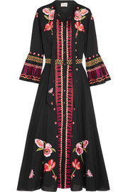 Amity pussy-bow embroidered cotton midi dress