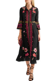 Temperley London Amity pussy-bow embroidered cotton midi dress