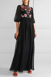 Temperley London Aura embroidered silk-blend chiffon and lace gown