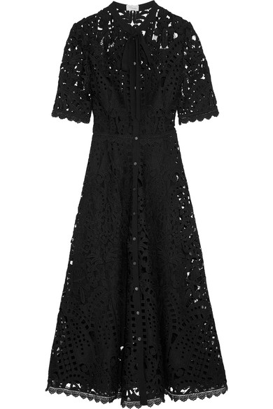 Temperley London - Berry Pussy-bow Guipure Lace Midi Dress - Black