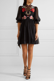 Temperley London Mini Aura embroidered silk-blend chiffon and lace mini dress