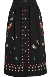 Temperley London Juniper embroidered crepe skirt