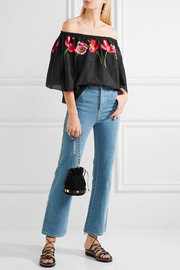 Temperley London Amity off-the-shoulder embroidered cotton-voile top