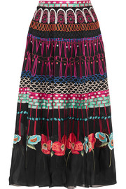Temperley London Aura embroidered silk-organza skirt