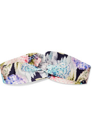 Twisted floral-print silk-satin headband