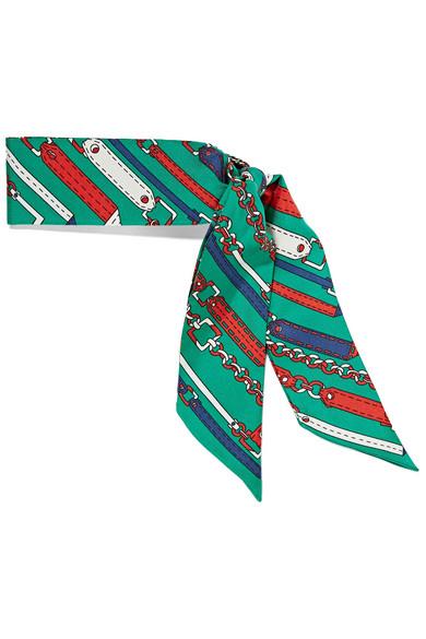 gucci female gucci printed silktwill scarf forest green
