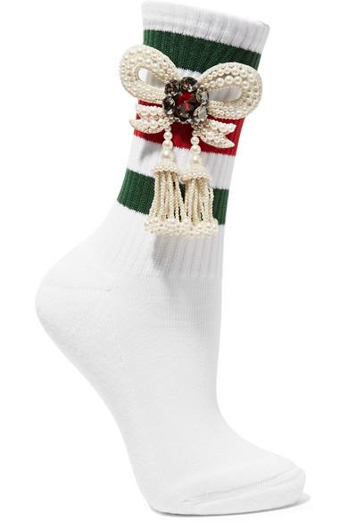 Gucci - Little William Embellished Ribbed Cotton-blend Socks - White