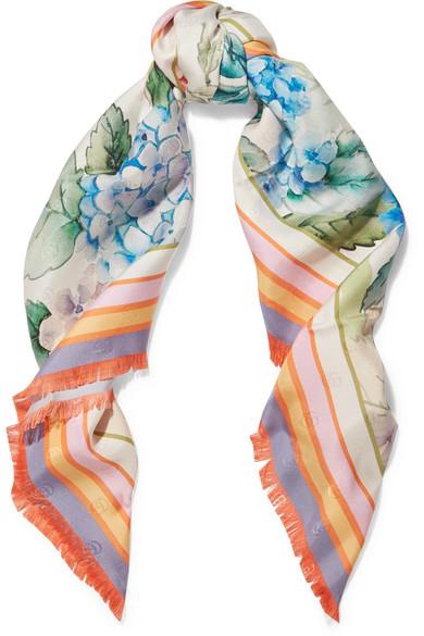 gucci female gucci printed silktwill scarf lilac