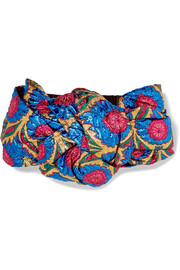 Twisted metallic floral-jacquard headband