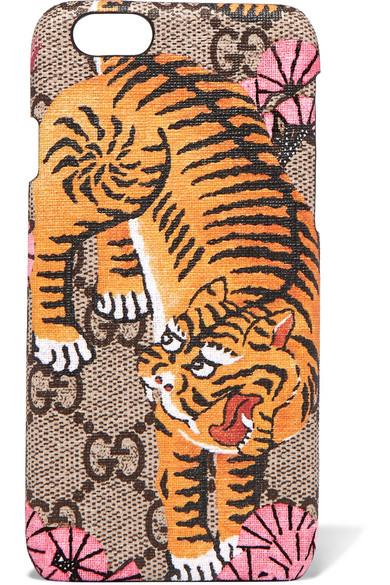 gucci female gucci printed coatedcanvas iphone 6 case brown