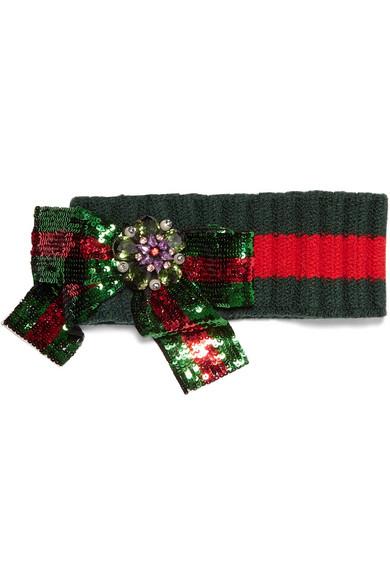 Gucci - Embellished Wool-blend Headband - Green
