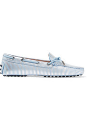 Metallic-striped leather loafers