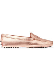 Gommino metallic textured-leather loafers
