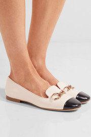 Tod's Embellished two-tone leather ballet flats