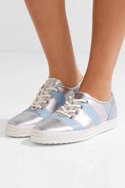 Nubuck-trimmed metallic leather sneakers