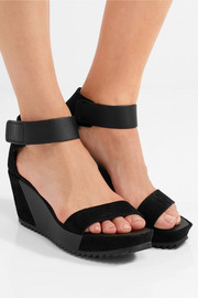 Pedro Garcia Fidelia leather and suede wedge sandals