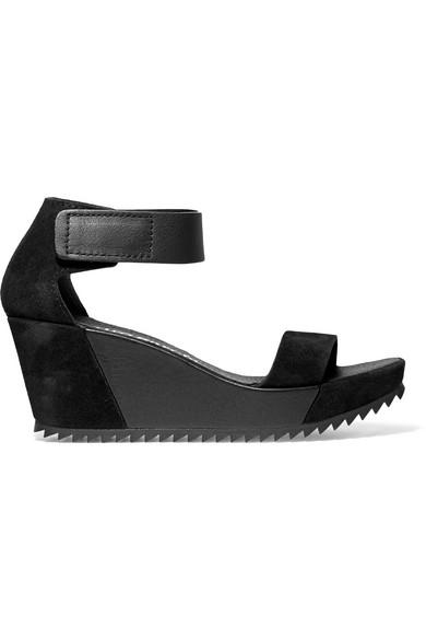 pedro garcia female pedro garcia fidelia leather and suede wedge sandals black