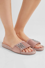 Pedro Garcia Arabela Swarovski crystal-embellished satin and suede slides