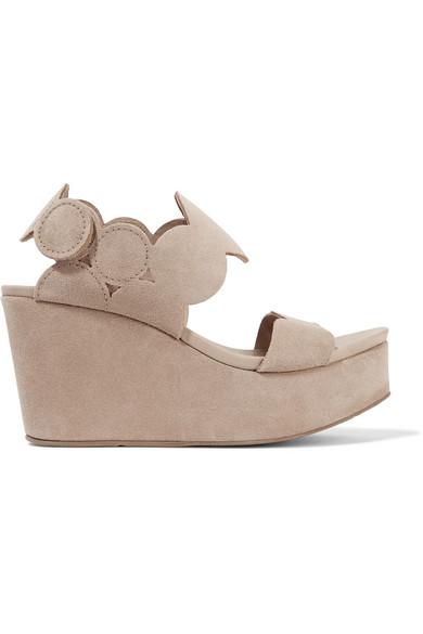 pedro garcia female pedro garcia dyane suede wedge sandals neutral