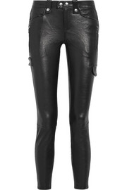 Moto leather skinny pants