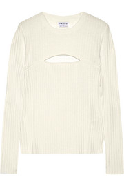Cutout ribbed merino wool-blend sweater