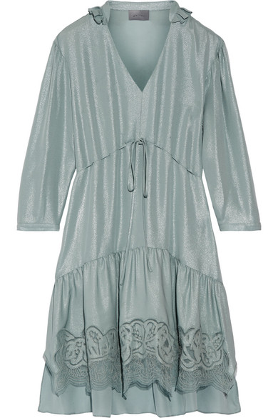 Maiyet - Cascade Lace-trimmed Silk Dress - Blue
