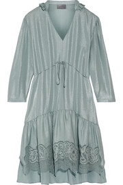 Cascade lace-trimmed silk dress