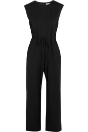 Cropped stretch-wool twill jumpsuit