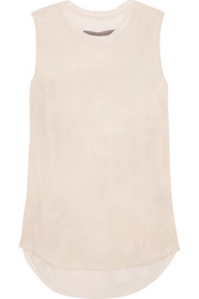 Raquel Allegra Washed-silk and stretch-jersey top