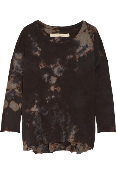 raquel allegra female raquel allegra tiedyed cottonblend jersey top black