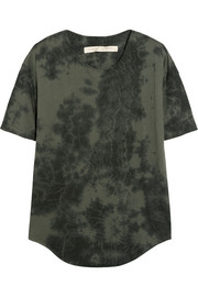 Raquel Allegra Tie-dyed stretch cotton-blend jersey T-shirt