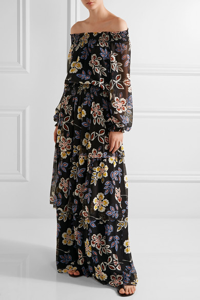 Tory Burch | Indie tiered printed silk-georgette maxi dress | NET ...